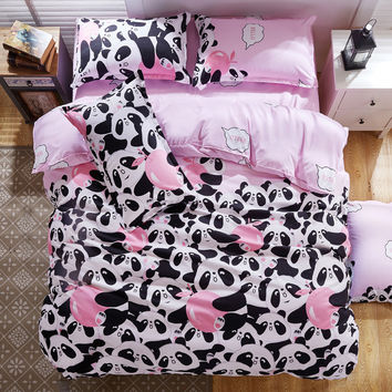B&W Panda Bedding Set Cotton Bed Sheet/bedspread/Duvet Cover Set Queen King Size for Single Double Bed Panda 4pcs Bedding Set