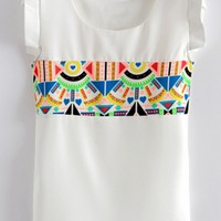 Geometrical Graphic Chiffon Blouse - OASAP.com
