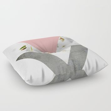 Blossoms Arrows Collage Floor Pillow by ARTbyJWP