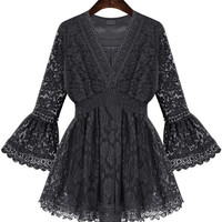 Black V-Neckline Bell Sleeves Lace Blouse