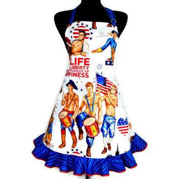 Retro Kitchen Apron , The Pursuit of Happiness by Alexander Henry , Patriotic , July 4th , Pin Ups