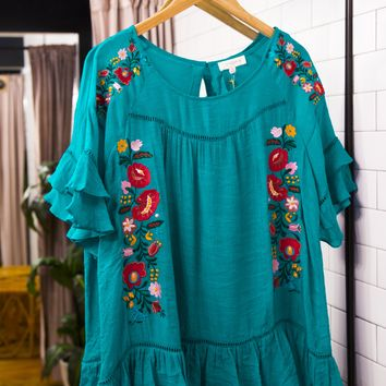Floral Embroidered Ruffle Top, Turquoise