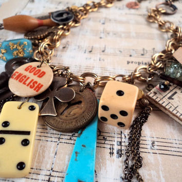 Upcycled Charm Necklace - Vintage Charms Repurposed Domino Dice Trinkets Glass Vial Militaria