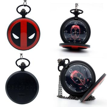 Deadpool Dead pool Taco Fashion Black  Animation  mask Dial Quartz Pocket Watch Pendant Necklace Mens Womens  Watches Gift AT_70_6