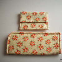 Daisy Tangerine  and Cream Eyeglass Case and Card Case Matching Set