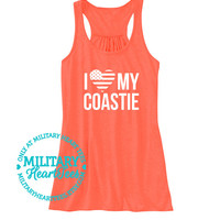 I Love My Coastie Tank Top, Military tank top, Coastie Wife, Coastie Girlfriend, Coastie Sister, Coastie Mom, Coastie Work out, Coast Guard