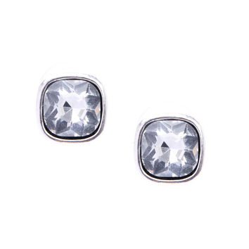 Glitter Stud Earrings in Silver