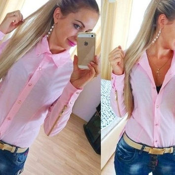 2015 new fashion autumn blouse made fashion blouses with zipper at sleeve for women blue Pink and white Blouses & Shirts = 1753644932