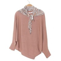 Round Neck Pink Batwing Irregular Loose Pullover  Other type  Solid Pop  style S10200401 in Knitwear