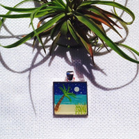 Original Hand Painted Evening Palm Tropical Art Pendant