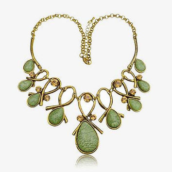 Smoky Green Teardrops and Amber Crystal  Choker Necklace  ( GP )