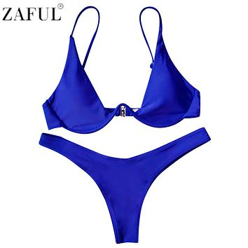 ZAFUL New Sexy Bikinis Women Swimsuit Low Waisted Bathing Suits Underwired Plunge Swim Push Up Bikini Set Plus Size Swimwear