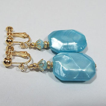 Mint Blue Drop Earrings, Pearly Octagon, Gold Plated, Made with Vintage Lucite Beads, Spring Jewelry, Clip on Earrings Lever Back Hook