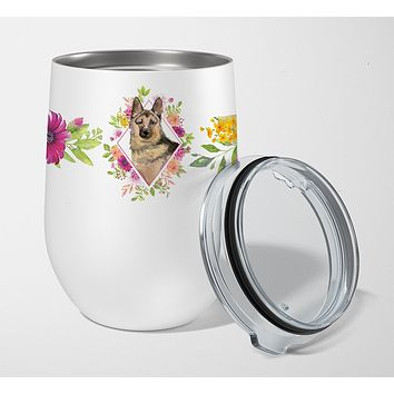 German Shepherd Pink Flowers Stainless Steel 12 oz Stemless Wine Glass CK4237TBL12