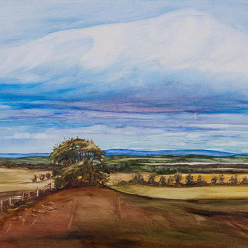 Oil Painting Tree On The Hill Scottish Landscape Original Artwork Home Decor Wall Decor Wall Hanging Art 30x40cm