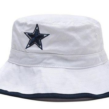 DCCKBE6 Dallas Cowboys Full Leather Bucket Hats White