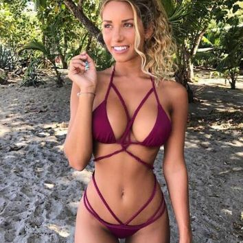 Crisscross Halter Crochet Beach Bikini Set Swimsuit Swimwear