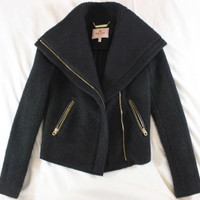 """~~~ SNUGGLE UP BABY!!!!! ~~~ JUICY COUTURE BLACK """"MOTO"""" SWEATER JACKET ~ XS/S"""