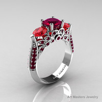 Classic 10K White Gold Three Stone Red Garnet Rubies Solitaire Ring R200-10KWGRGR