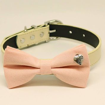 Blush dog bow tie collar, Pet wedding accessory, Dogs Paws Charm, Puppy Gift, Birthday