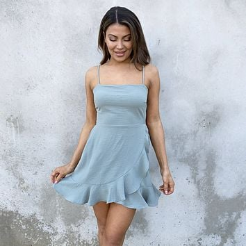 Gracious Babe Wrap Ruffle Dress