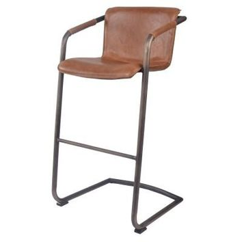 Greyson Bar Stool Rubbed Gold Frame, Antique Cigar Brown Leather Set of 2
