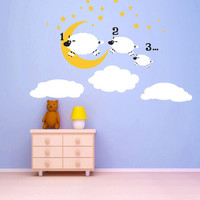 Counting Sheep - kids wall mural - Vinyl Wall Decal Sticker Art