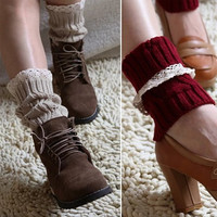 Vintage Style CableKnit At Your Feet Leg Warmer Socks With Lace