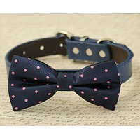 Navy Dog Bow Tie collar, Pet Wedding, Navy and Lavender wedding ideas