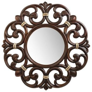 Carved Hand Nirror GM Luxury Constance Round Decorative Wall Art Mirror, Wood 38.6x38.6