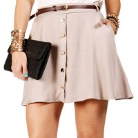 Taupe Belted Button Skater Skirt