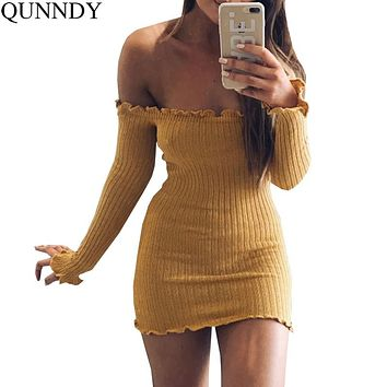 Qunndy Sexy Off Shoulder Club Women Dress Slim Bodycon Dress Autumn Winter Knitted Elastic Sweater Party Night Dresses Vestidos