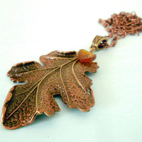 FIRST LEAF of FALL Autumn Grand Leaf Pendant Necklace in Antique Brass & Copper Patina with Glass Amber Leaf Charm from Dryad Dreams