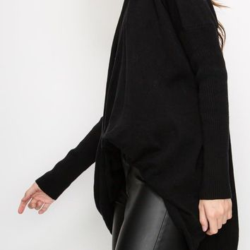 Maria Cross Front Sweater in Black