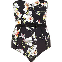 River Island Womens Black floral print mesh detail swimsuit