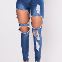 Catty Distressed Skinny Jeans - Medium Wash