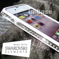 SWAROVSKI ELEMENTS Clear Crystal Bling WHITE Bumper Case Cover for Apple iPhone 4/4s