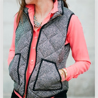 Autumn&Winter Top Real Photo Designer Inspired Cotton Textured Herringbone Quilted Puffer Vest +Free Gift -Random Necklace