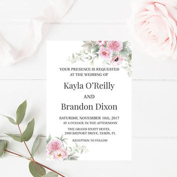 Rustic Shabby Chic Peonies Wedding Invitation, Wedding Invitation, Floral Wedding Invitation, Printable Wedding Invitation, Instant Download
