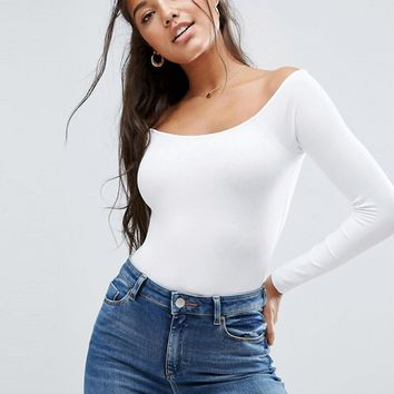 ASOS Long Sleeve Off Shoulder Body at asos.com