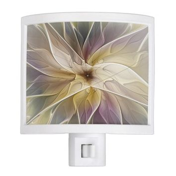 Floral Fantasy Pattern Abstract Fractal Art Night Light