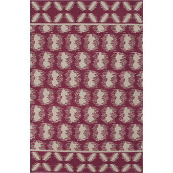 Flatweave Tribal Pattern Pink/Ivory Cotton Area Rug (5x8)
