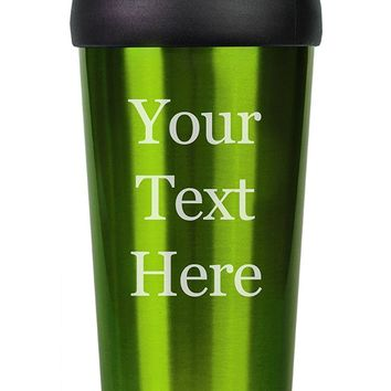 Customized 3D Laser Engraved Personalized Stainless Steel Custom Travel Mug without Handle (Green)