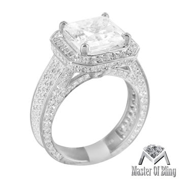 Womens Solitaire Sterling Silver Lab Diamond White Gold Finish Ring