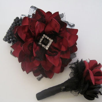 Prom Homecoming SET Wrist Corsage Boutonniere Designed in Your Colors with Pearl and Rhinestone Accents