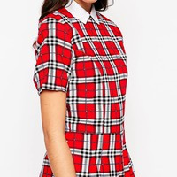 Motel Romper with Collar in Plaid