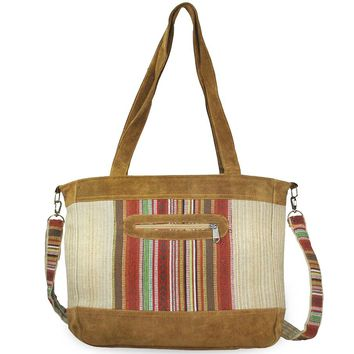 Mato Travel Shoulder Hemp Tote Bag Boho Bohemian Tribal Aztec Pattern Suede Leather Brown