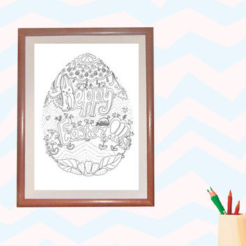 Happy Easter Colouring Line Art, Bunny Digital Illustration, Eags line drawing,page to print, Happy Easter Colouring Page,