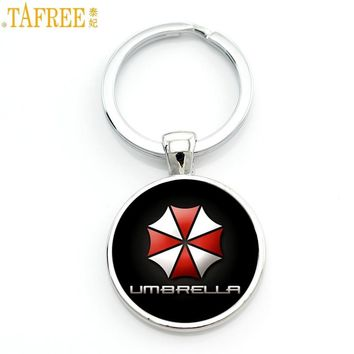 TAFREE case for Resident Evil Umbrella art picture glass metal keychain vintage fashion men key chain ring holder for car CT70