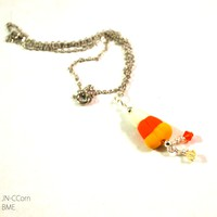 Candy Corn Halloween Necklace for Women, Chain Necklace Novelty Holiday Fashion Jewelry